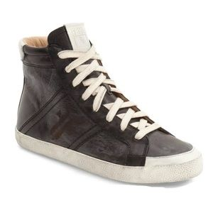 FRYE // Dylan black leather high top sneakers